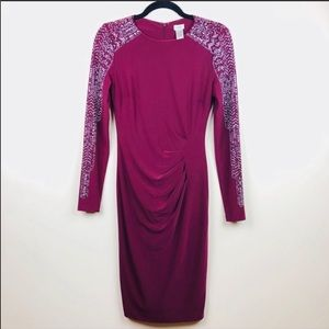 Cache embellished side drapped bodycon dress